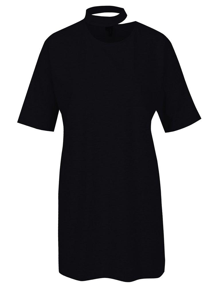 Černé oversize tričko s chokerem VERO MODA Jelica