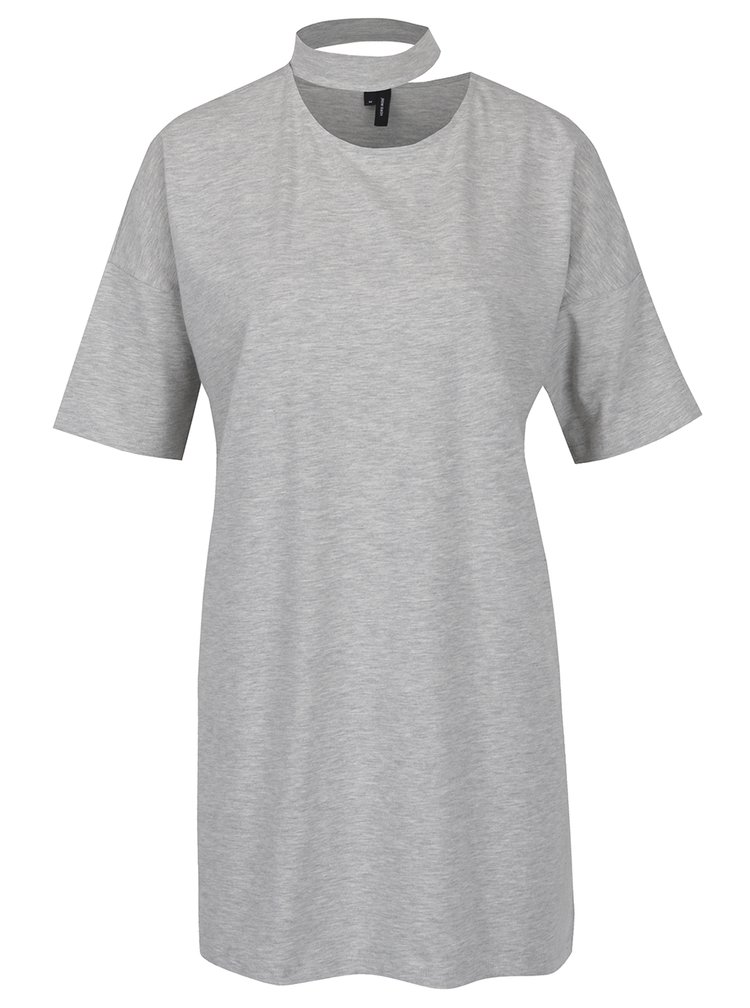 Světle šedé oversize tričko s chokerem VERO MODA Jelica
