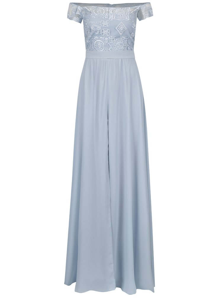 Světle modré maxišaty s páskem Miss Grey Eveline