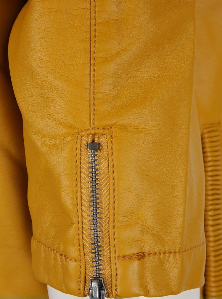 Hořčicová dámská koženková bunda s 3/4 rukávem Garcia Jeans