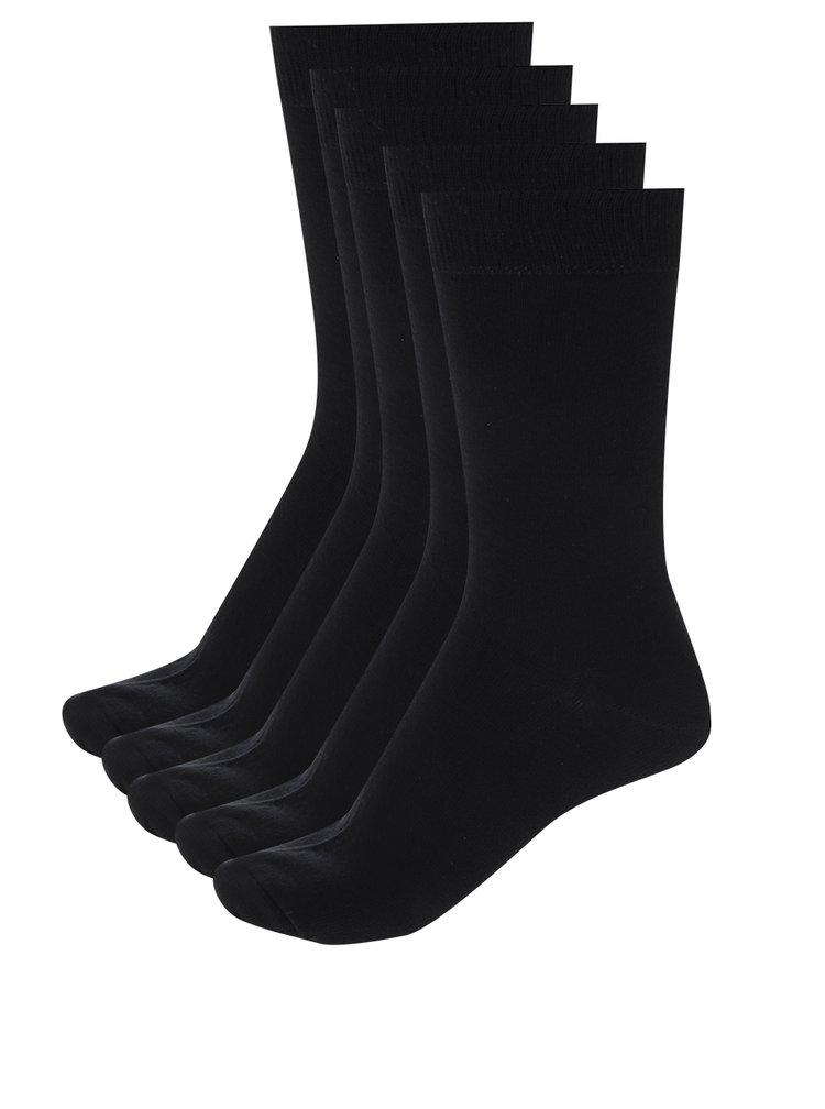 Sada pěti párů černých pánských ponožek M&Co
