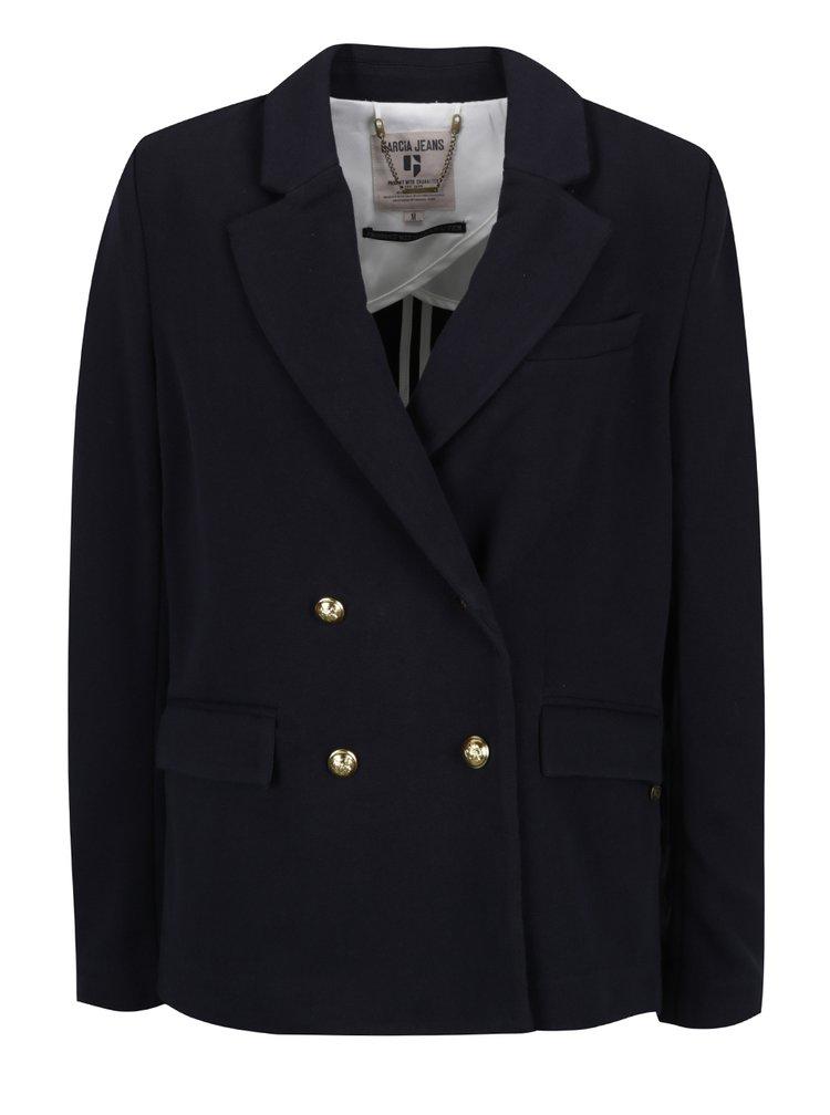 Modré dámské sako s knoflíky ve zlaté barvě Garcia Jeans