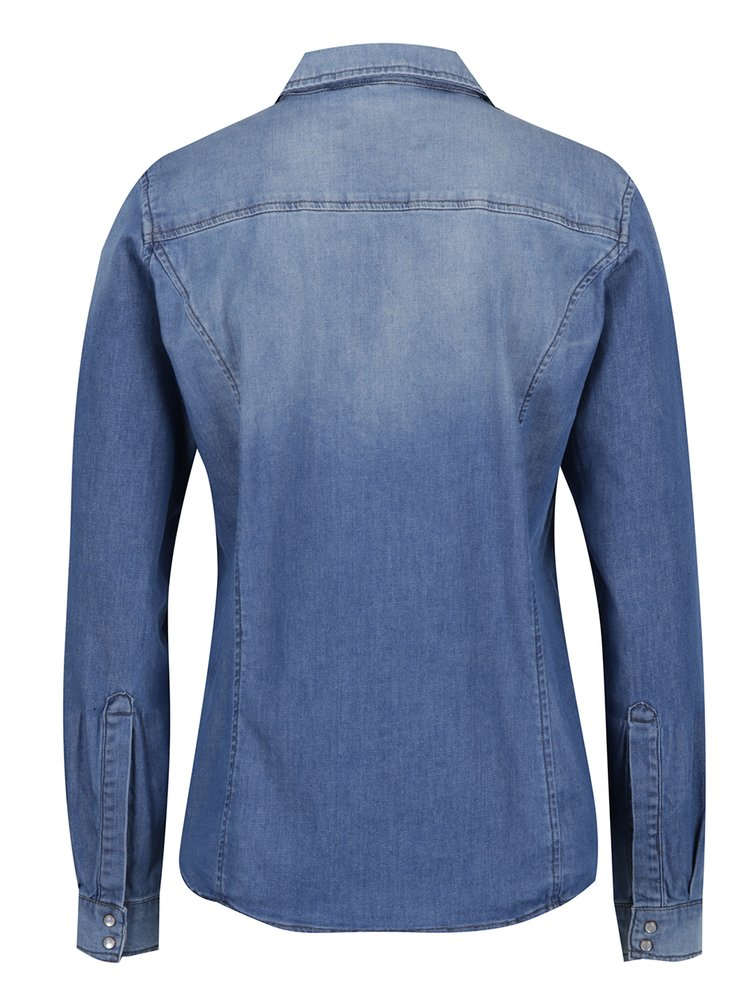 Modrá dámská košile s vyšisovaným efektem Garcia Jeans