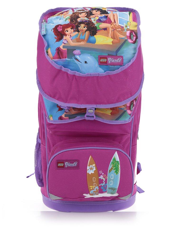 Růžová holčičí aktovka s batohem 2v1 LEGO Wear Friends Beach House 28 l