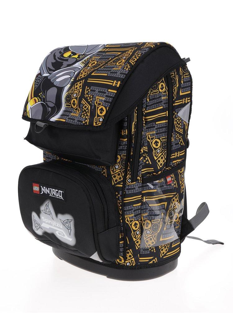 Černo-žlutá klučičí aktovka s batohem 2v1 LEGO Wear Ninjago Cole Maxi 28 l