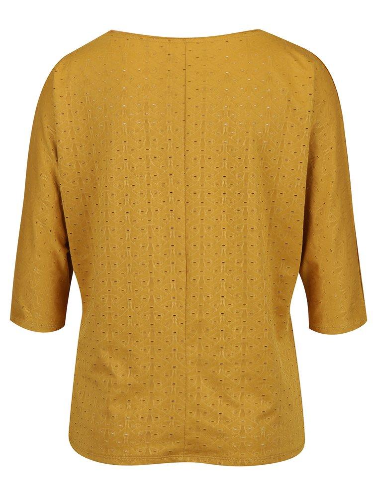 Hořčicové dámské vzorované tričko Garcia Jeans