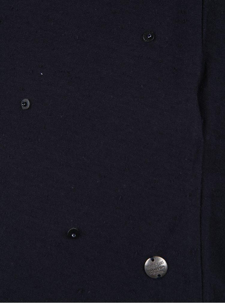 Tricou bleumarin de dama cu aplicatii Garcia Jeans