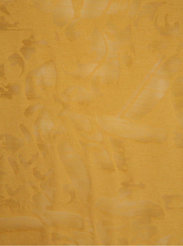 Hořčicové dámské tričko s průsvitnými detaily Garcia Jeans