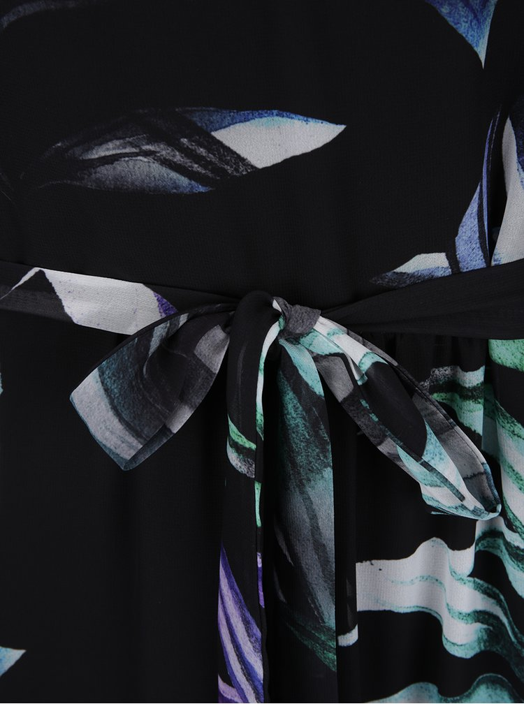 Černé květované maxišaty se zavazováním M&Co