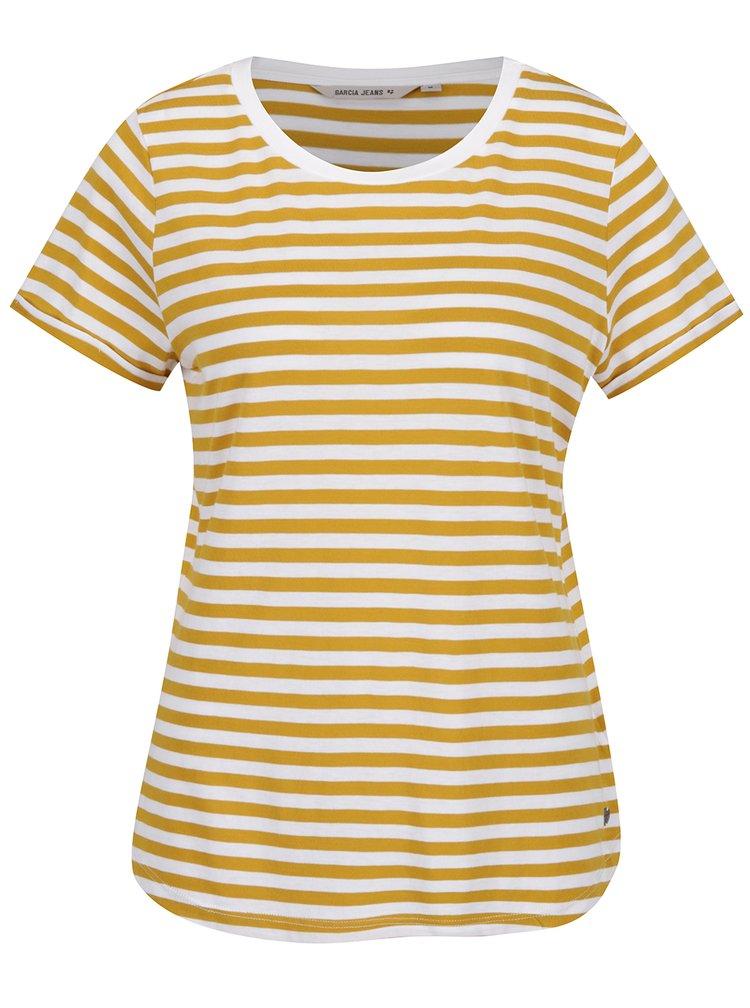 Tricou alb fildeș&galben de damă cu dungi Garcia Jeans