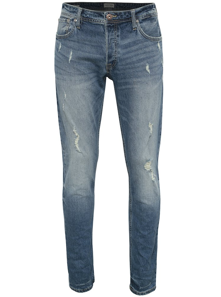 Modré slim fit rifle s potrhaným efektom Jack & Jones Tim
