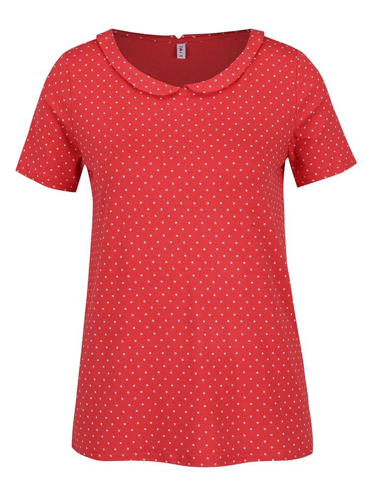 Červené bodkované tričko s golierom Blutsgeschwister