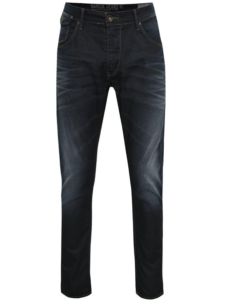 Tmavě modré pánské džíny s vyšisovaným efektem Garcia Jeans Lucco