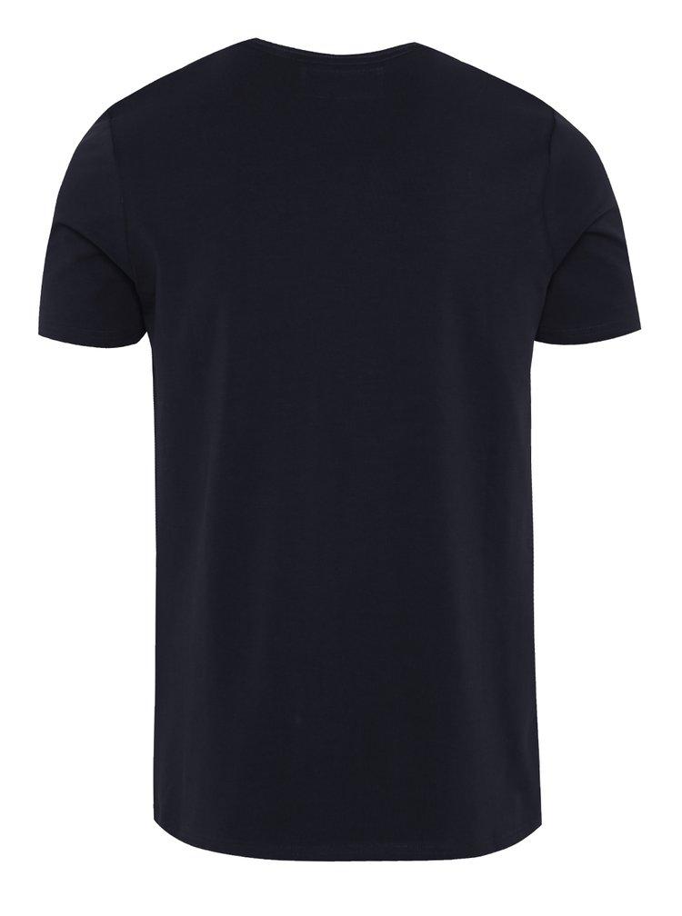 Tricou albastru inchis cu print Garcia Jeans pentru barbati