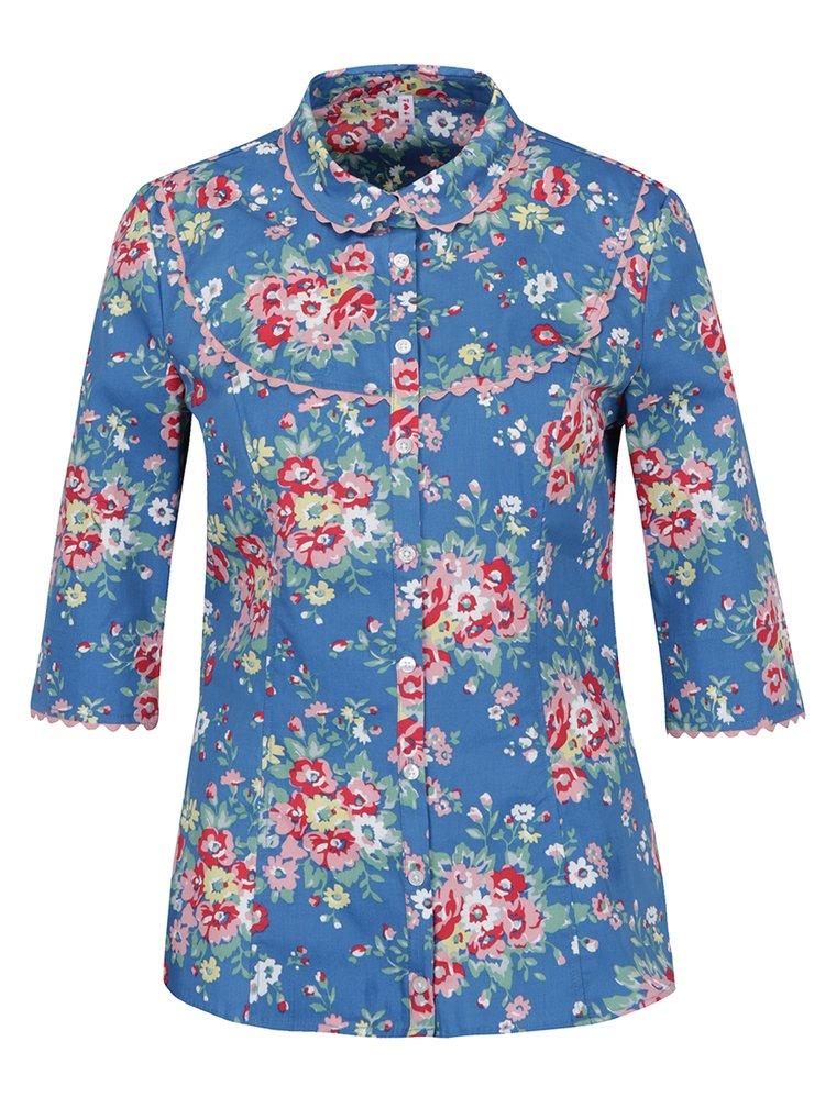 Modrá květovaná košile s 3/4 rukávy Blutsgeschwister