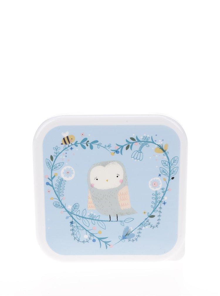 Bílo-modrý box na jídlo s motivem sovy Sass & Belle Square Woodland