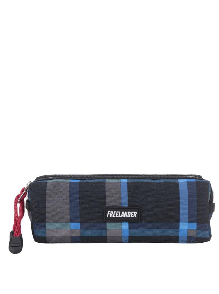 Modrý klučičí kostkovaný penál Freelander Multi Zip