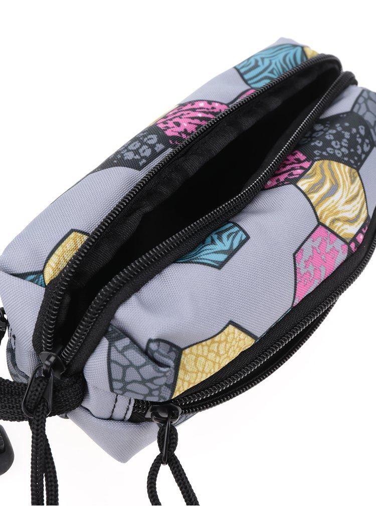 Šedý holčičí vzorovaný penál Freelander Multi Zip