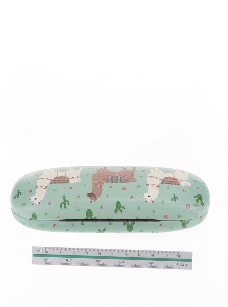 Zelené pouzdro na brýle s motivem lam Sass & Belle Lima Llama