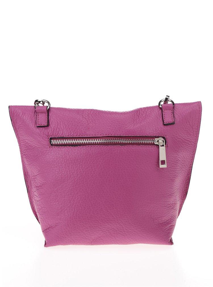 Geanta crossbody roz inchis pliabila din piele ZOOT