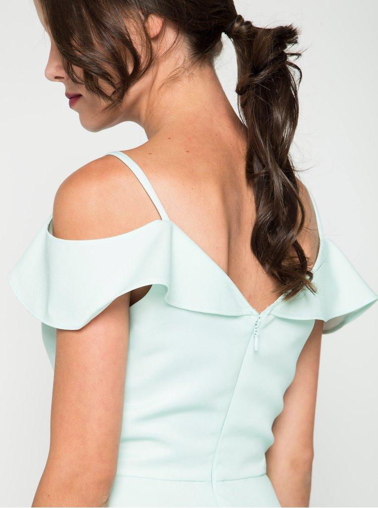 Světle zelené šaty s odhalenými rameny Chi Chi London Saydie