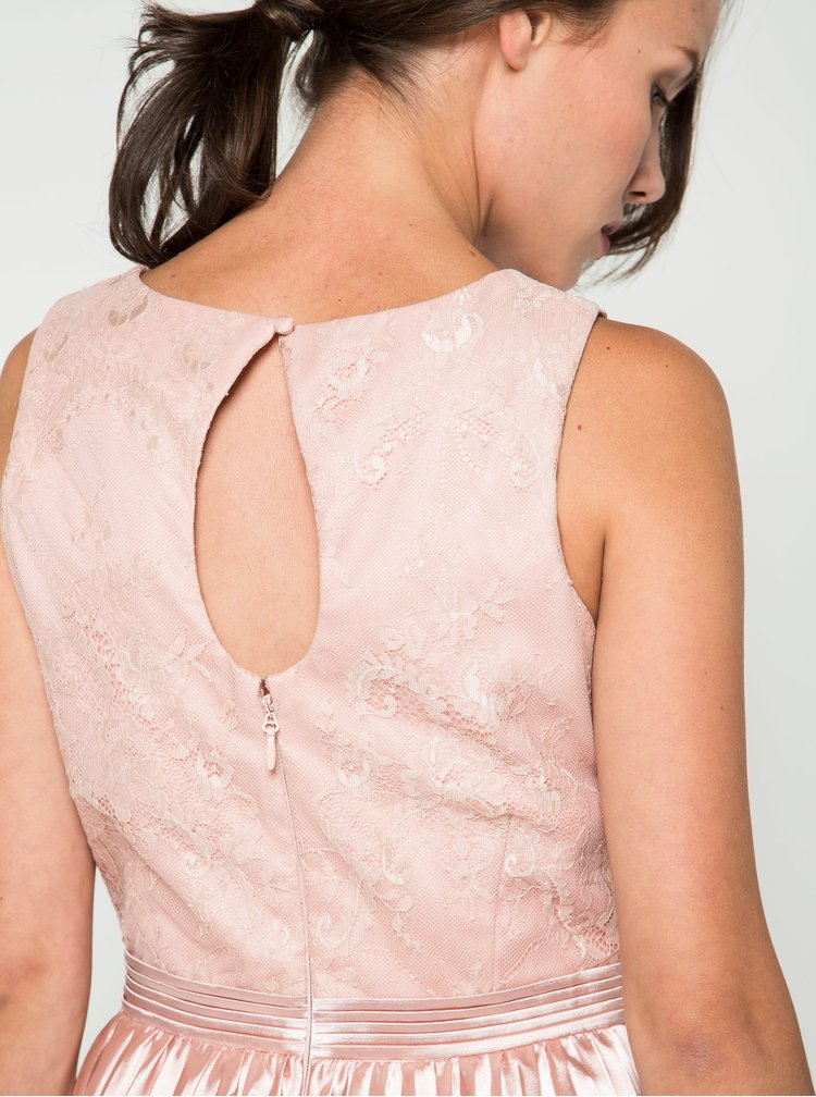 Růžové lesklé šaty s krajkovým topem  Chi Chi London