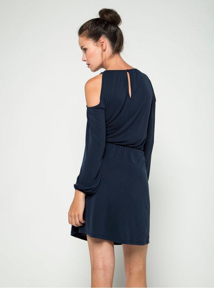 Tmavě modré šaty s průstřihy na ramenou ONLY Tula