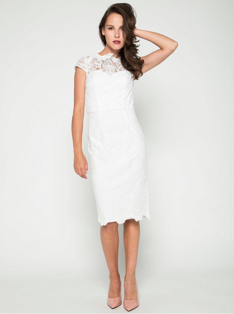 Krémové krajkové šaty s rozparkem Chi Chi London