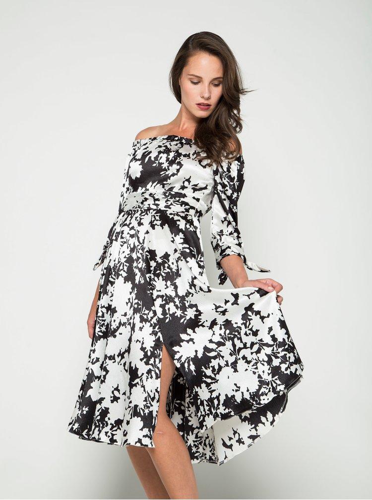 Rochie alb&crem Closet cu imprimeu