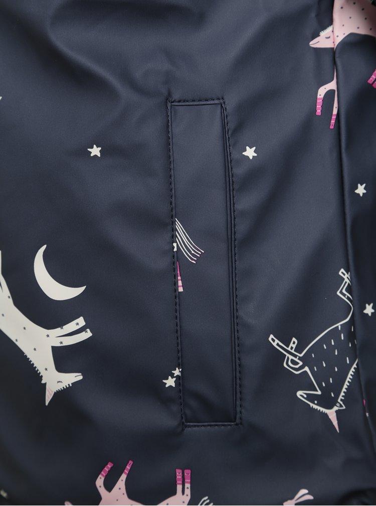 Jachetă impermeabilă bleumarin cu print unicorn pentru fete Tom Joule