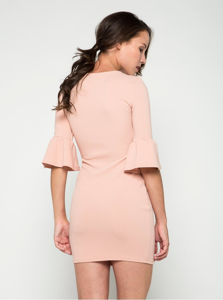 Světle růžové šaty s tříčtvrtečním volánovým rukávem AX Paris