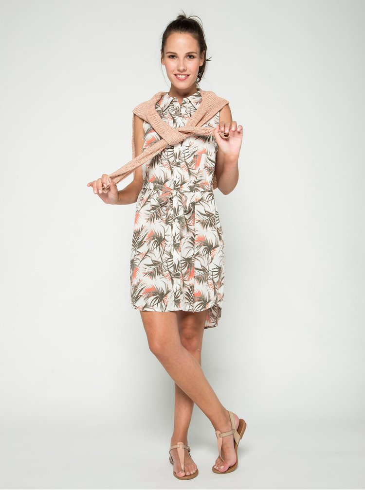 Krémové květované košilové šaty se zavazováním v pase Apricot