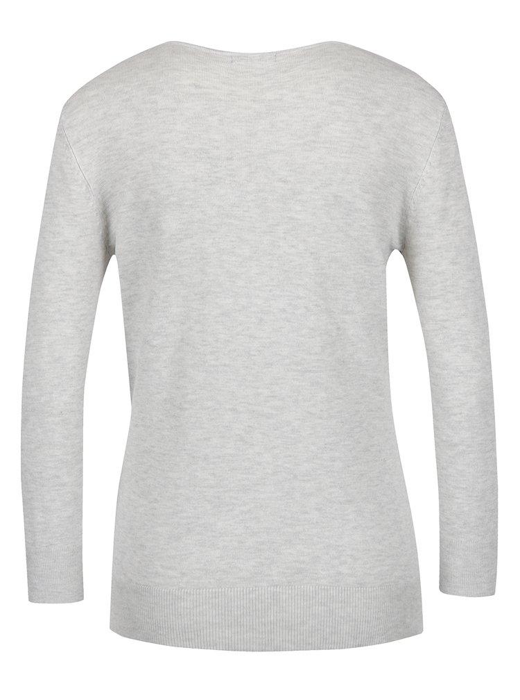 Světle šedý dámský svetr s flitrovým motivem ptáků M&Co