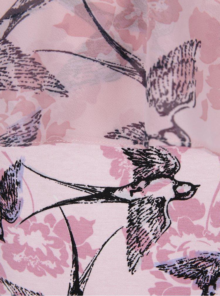 Růžová halenka s odhalenými rameny a potiskem ptáků M&Co