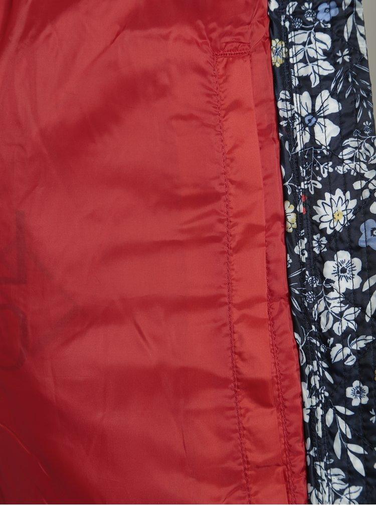 Tmavě modrá holčičí prošívaná květovaná vesta Tom Joule