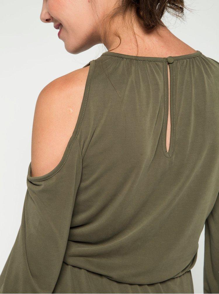 Khaki šaty s průstřihy na ramenou ONLY Tula