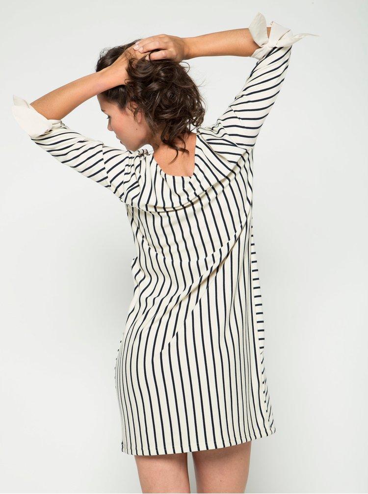 Krémové pruhované šaty s 3/4 rukávem VERO MODA Doris