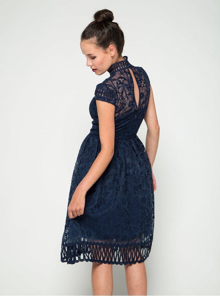Tmavě modré krajkové šaty se stojáčkem Chi Chi London