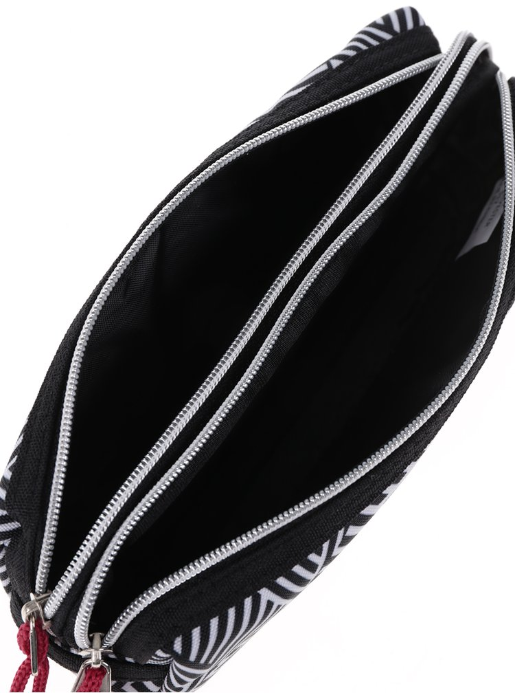 Černo-bílý klučičí vzorovaný penál Freelander Multi Zip