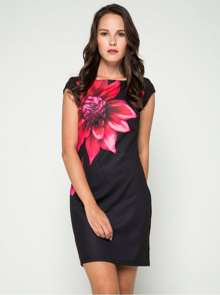 Rochie neagra mulata cu print floral Desigual Ulianne