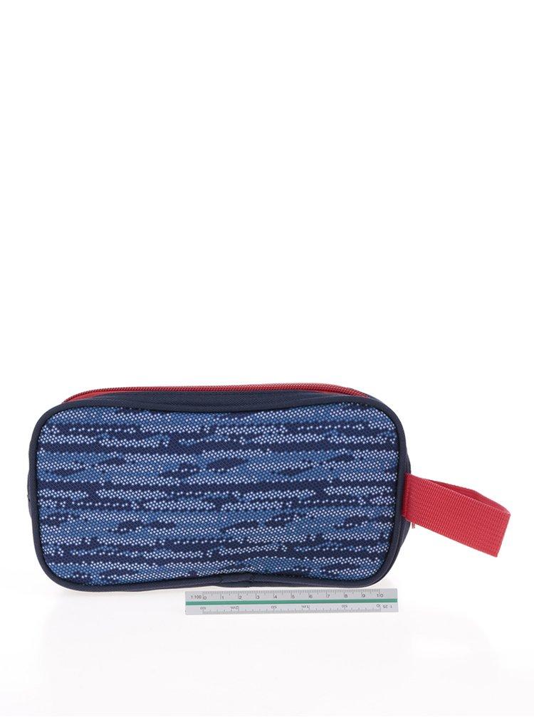 Modrý klučičí vzorovaný penál Freelander Twin Compentment