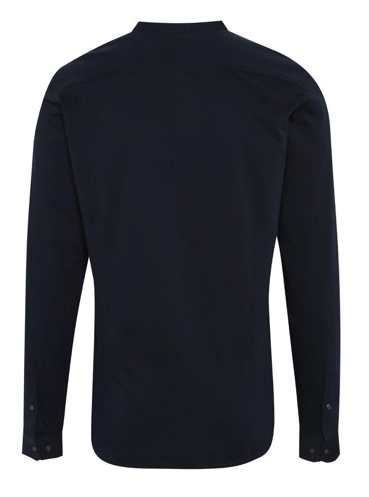 Camasa albastra Jack & Jones Premium Knit din bumbac cu guler tunica