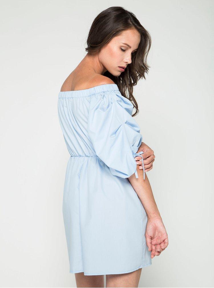 Modré šaty s odhalenými rameny Miss Selfridge