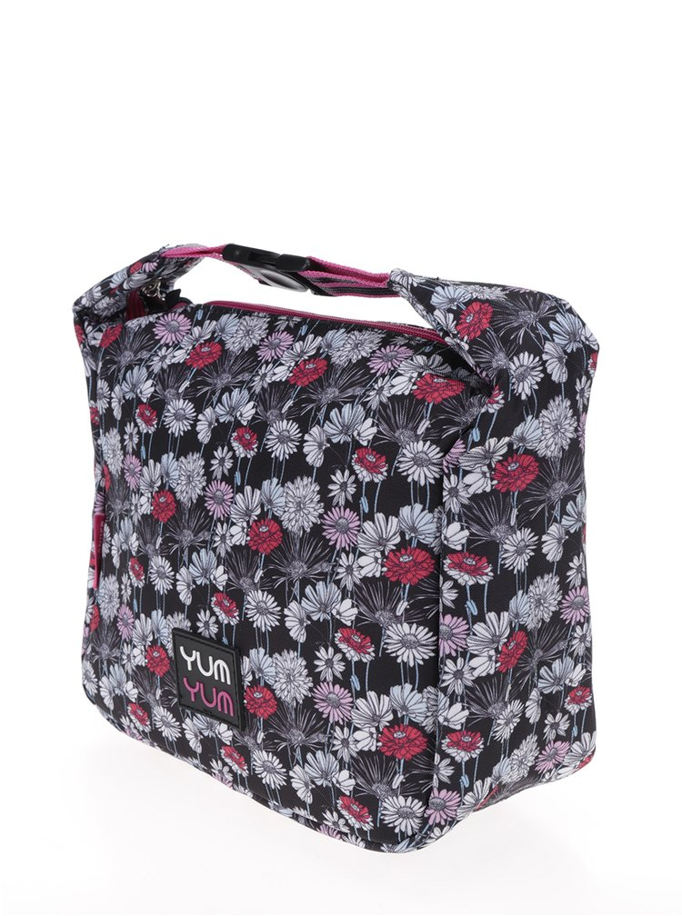 Černá holčičí květovaná taška na oběd Freelander Clip Carry 4,5 l