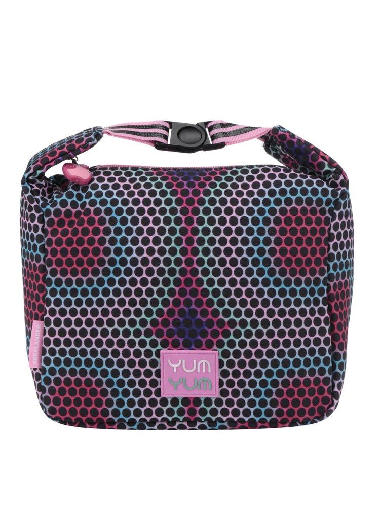 Růžovo-černá holčičí puntíkovaná taška na oběd Freelander Clip Carry 4,5 l