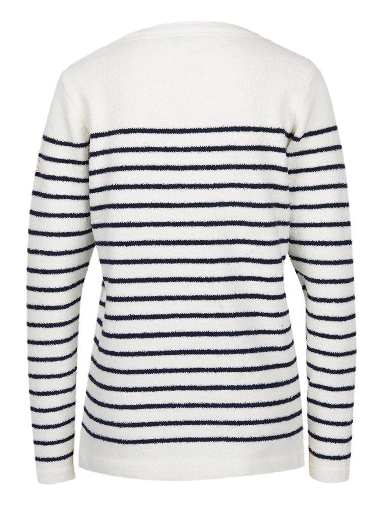 Bluza din fleece crem cu dungi bleumarin Tom Joule