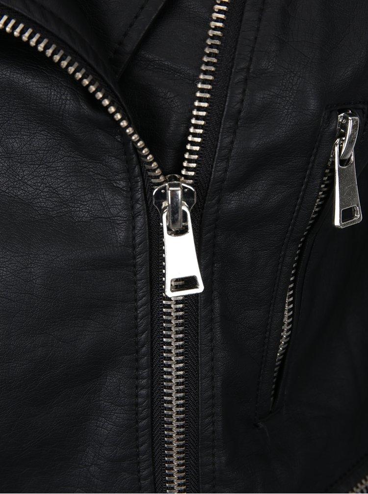 Jachetă neagră din piele sintetică TALLY WEiJL cu broderie