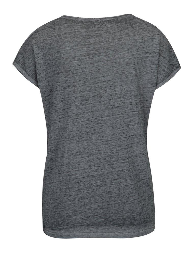 Tmavě šedé žíhané tričko s flitry ONLY New Eagle