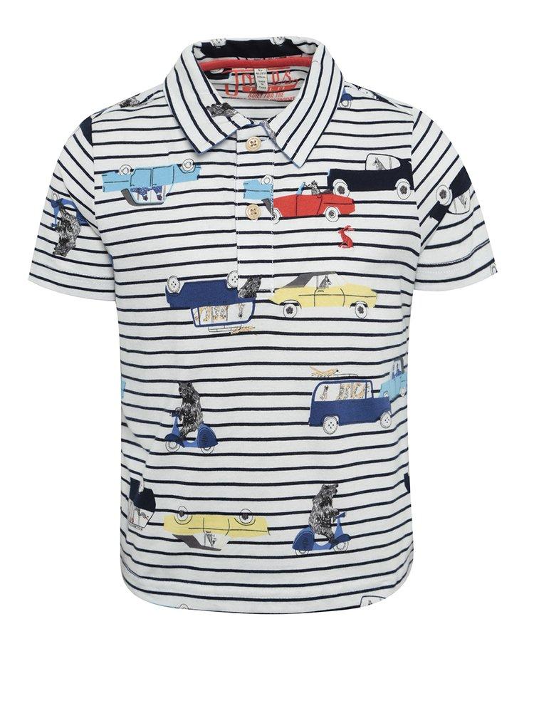 Tricou polo cu dungi si print cu masini pentru baieti Tom Joule