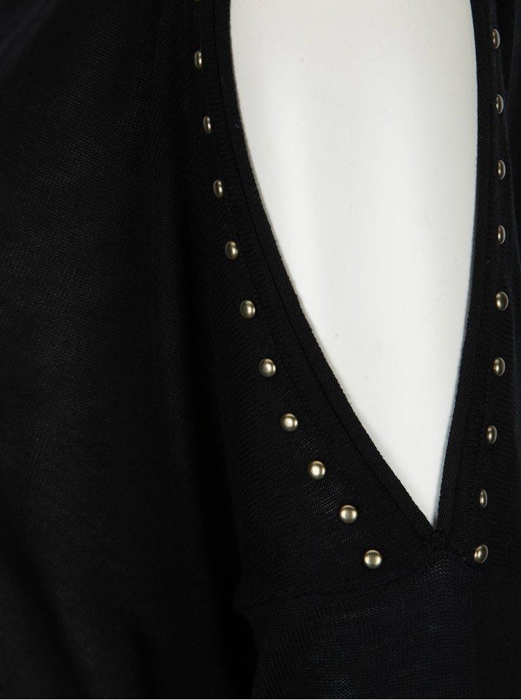 Pulover negru cu decupaje pe umeri si tinte decorative - ONLY Sky